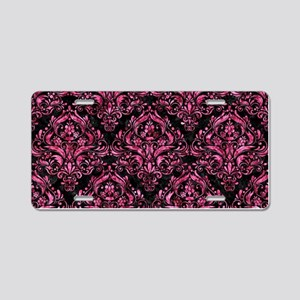 DAMASK1 BLACK MARBLE & PINK Aluminum License Plate