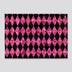 DIAMOND1 BLACK MARBLE & PINK MARBLE 5'x7'Area Rug