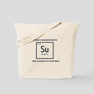 NEVER UNDERESTIMATE THE ELEME Tote Bag