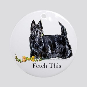 Scottish Terrier Holiday Dog Ornament (Round)