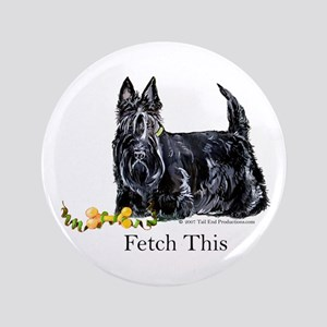 "Scottish Terrier Holiday Dog 3.5"" Button"