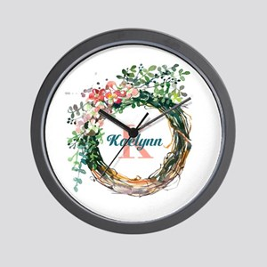 Spring Floral Wreath Monogram Wall Clock