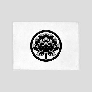 Lotus bloom in circle 5'x7'Area Rug