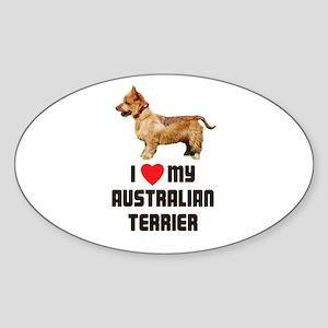 I Love My Australian Terrier Oval Sticker