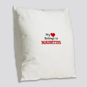 My Heart Belongs to Mauritius Burlap Throw Pillow