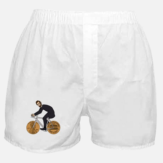 Abraham Lincoln On A Bike With Penny Boxer Shorts