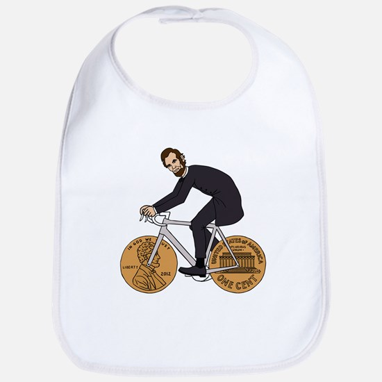 Abraham Lincoln On A Bike With Penny Wheels Bib