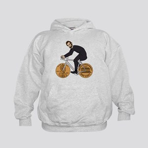 Abraham Lincoln On A Bike With Penny W Kids Hoodie