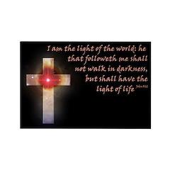 John 8:12 Celestial Cross Rectangle Magnet (10 pac