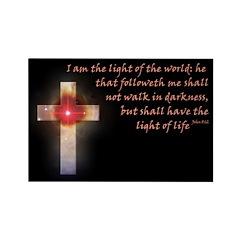 John 8:12 Celestial Cross Rectangle Magnet (100 pa