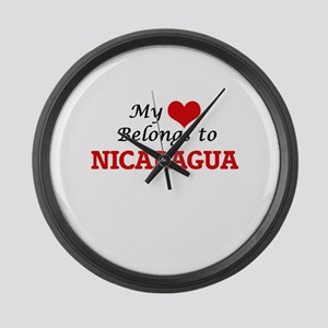 My Heart Belongs to Nicaragua Large Wall Clock