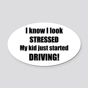 Stressed Driving Oval Car Magnet