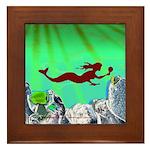 Green Mermaid Framed Tile