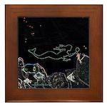 Neon Mermaid Framed Tile