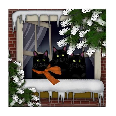 BLACK CATS WINTER WINDOW Tile Coaster