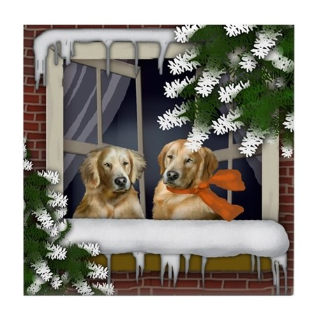 GOLDEN RETRIEVER DOGS WINTER WINDOW Tile Coaster