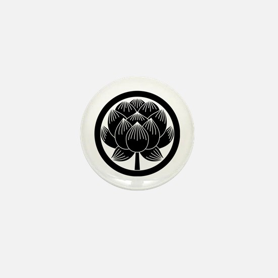 Lotus bloom in circle Mini Button