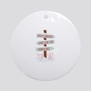 North Pole Signs Round Ornament