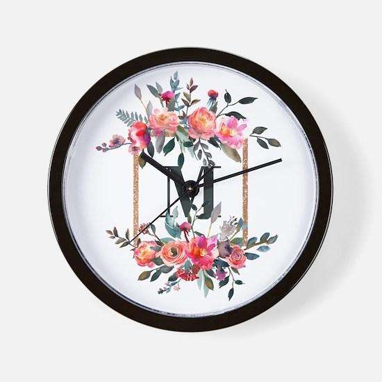 Feminine Floral Monogram Wall Clock