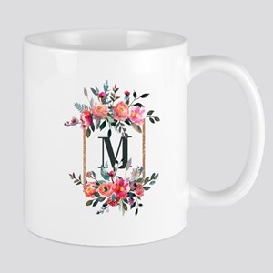 Feminine Floral Monogram Mugs