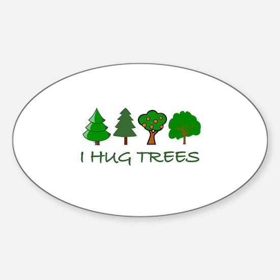 I Hug Trees Oval Decal