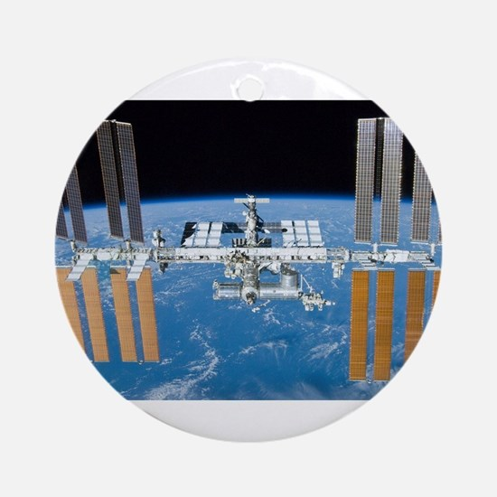 ISS, international space station Round Ornament