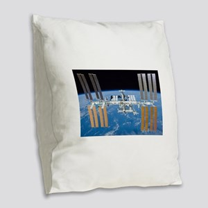 ISS, international space stati Burlap Throw Pillow