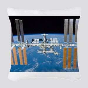 ISS, international space stati Woven Throw Pillow