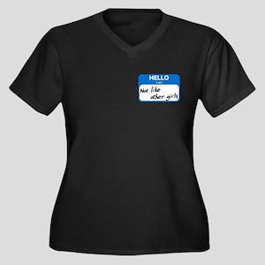 Not Like Women's Plus Size V-Neck Dark T-Shirt