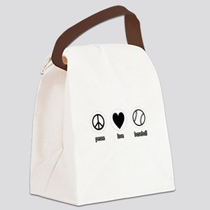 Peace, Love, Baseball Canvas Lunch Bag