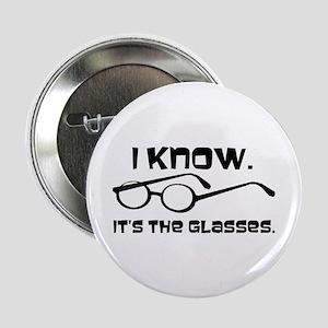 """Black Glasses 2.25"""" Button"""
