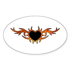 Flame Heart Tattoo Sticker (Oval)