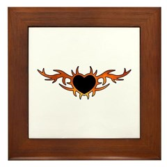 Flame Heart Tattoo Framed Tile