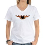 Flame Heart Tattoo Women's V-Neck T-Shirt
