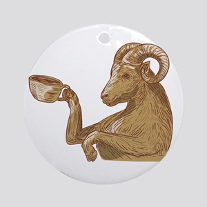 Ram Goat Drinking Coffee Drawing Round Ornament