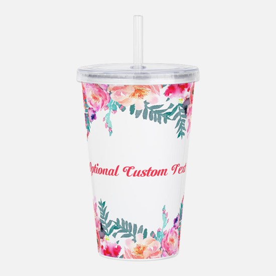 Watercolor Floral with Custom Text Acrylic Double-