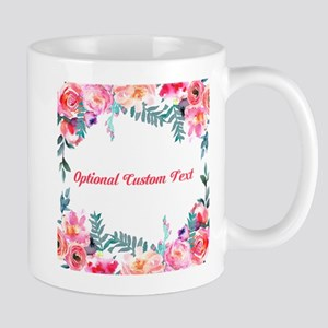 Watercolor Floral with Custom Text Mugs