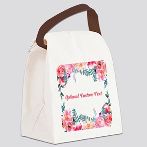 Watercolor Floral with Custom Text Canvas Lunch Ba