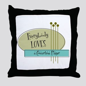 Everybody Loves a Concertina Player Throw Pillow