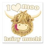 Wee Hamish Loves Moo! Square Car Magnet 3