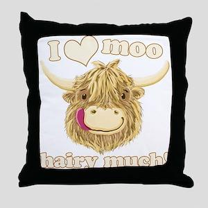 Wee Hamish Loves Moo! Throw Pillow