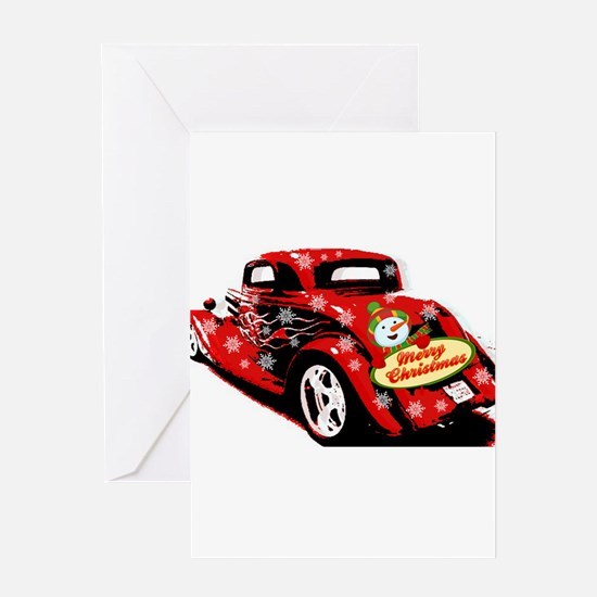 Christmas Hot Rod Greeting Cards