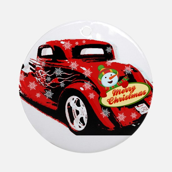 Christmas Hot Rod Round Ornament