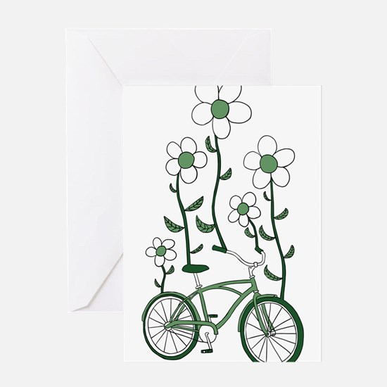 Flower Bike Greeting Cards