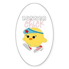 Runner Chick Oval Sticker