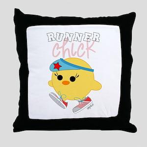 Runner Chick Throw Pillow