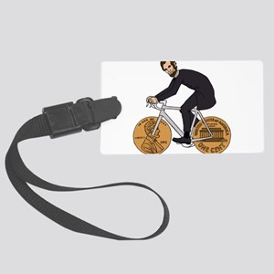 Abraham Lincoln On A Bike With P Large Luggage Tag