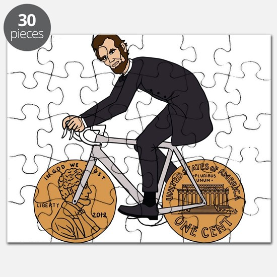 Abraham Lincoln On A Bike With Penny Wheels Puzzle