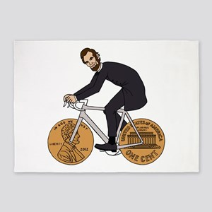 Abraham Lincoln On A Bike With Penn 5'x7'Area Rug