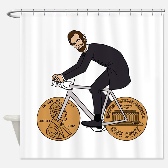 Abraham Lincoln On A Bike With Penn Shower Curtain
